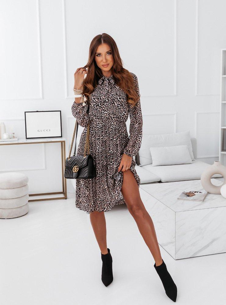 Plisowana sukienka midi w panterke Leane - wzór 1