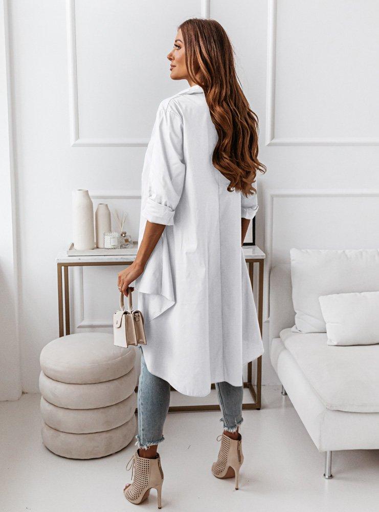 Biała asymetryczna koszula z dłuższym tyłem Anwen