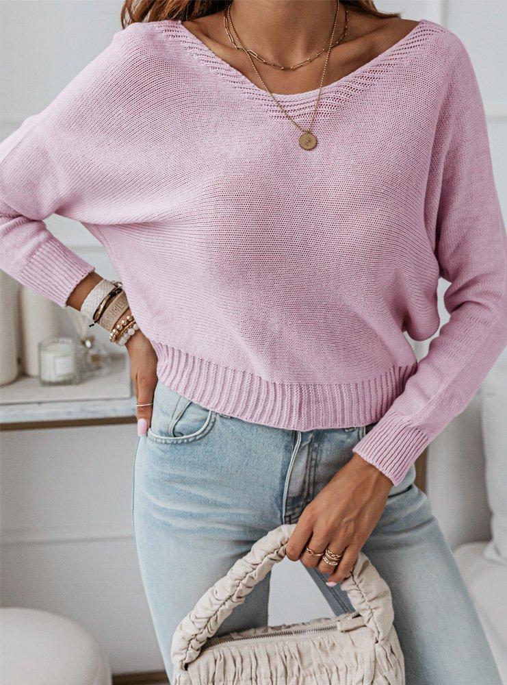 Pudrowy sweterek z ozdobnym wiązaniem...