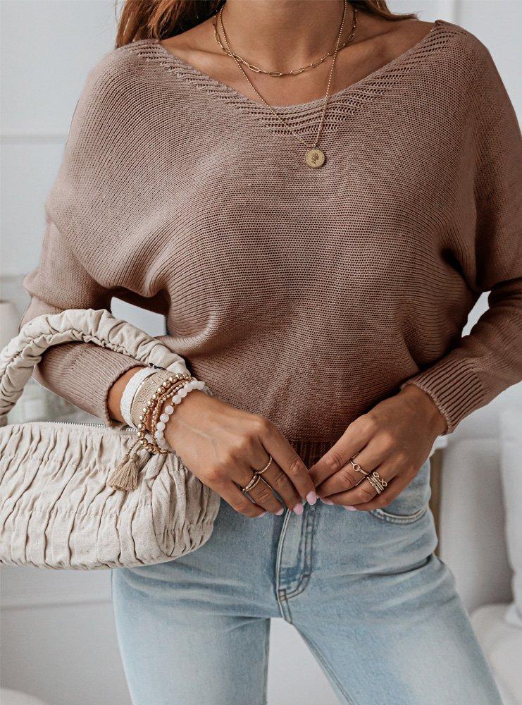 Sweterek z ozdobnym wiązaniem na...