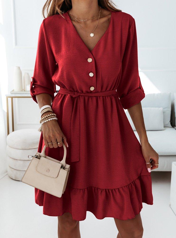 Bordowa sukienka z falbanką i paskiem...