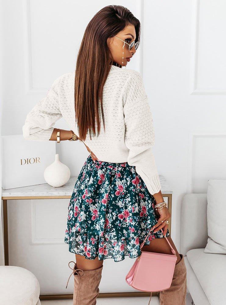 Ażurowy sweter z guzikami Tassia - ecru