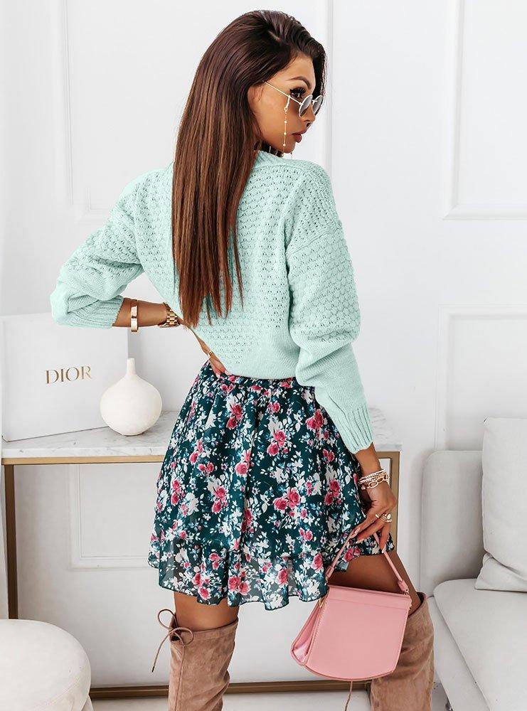 Miętowy ażurowy sweter z guzikami Tassia
