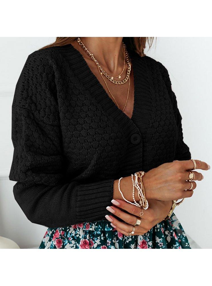 Czarny ażurowy sweter z guzikami Tassia