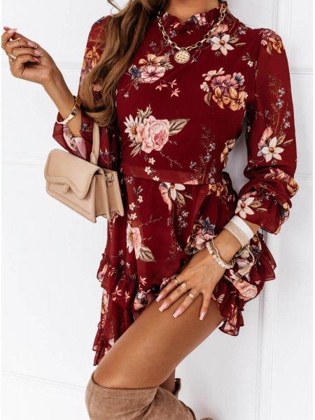 Bordowa sukienka kwiatowa...