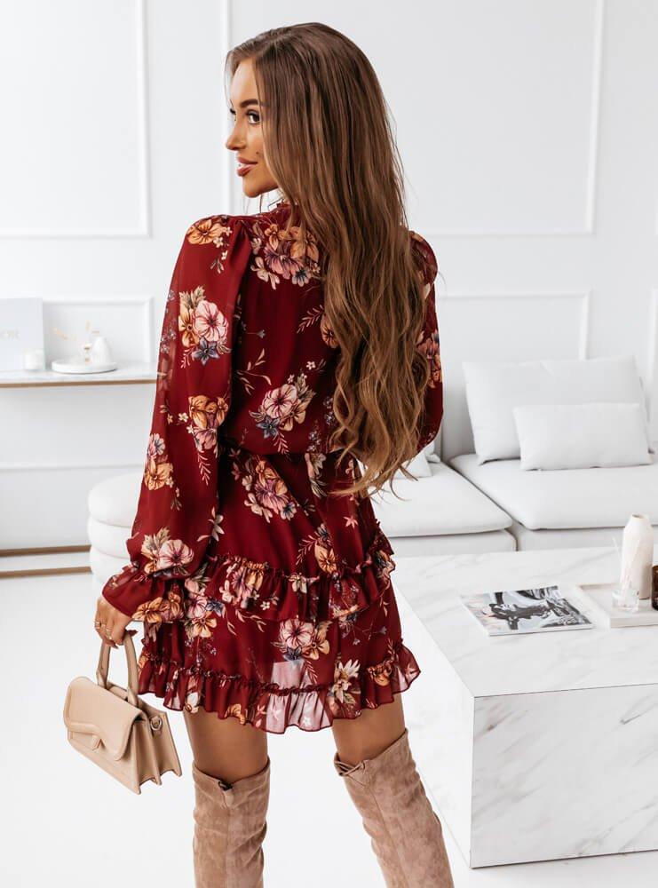 Bordowa sukienka kwiatowa na długi...