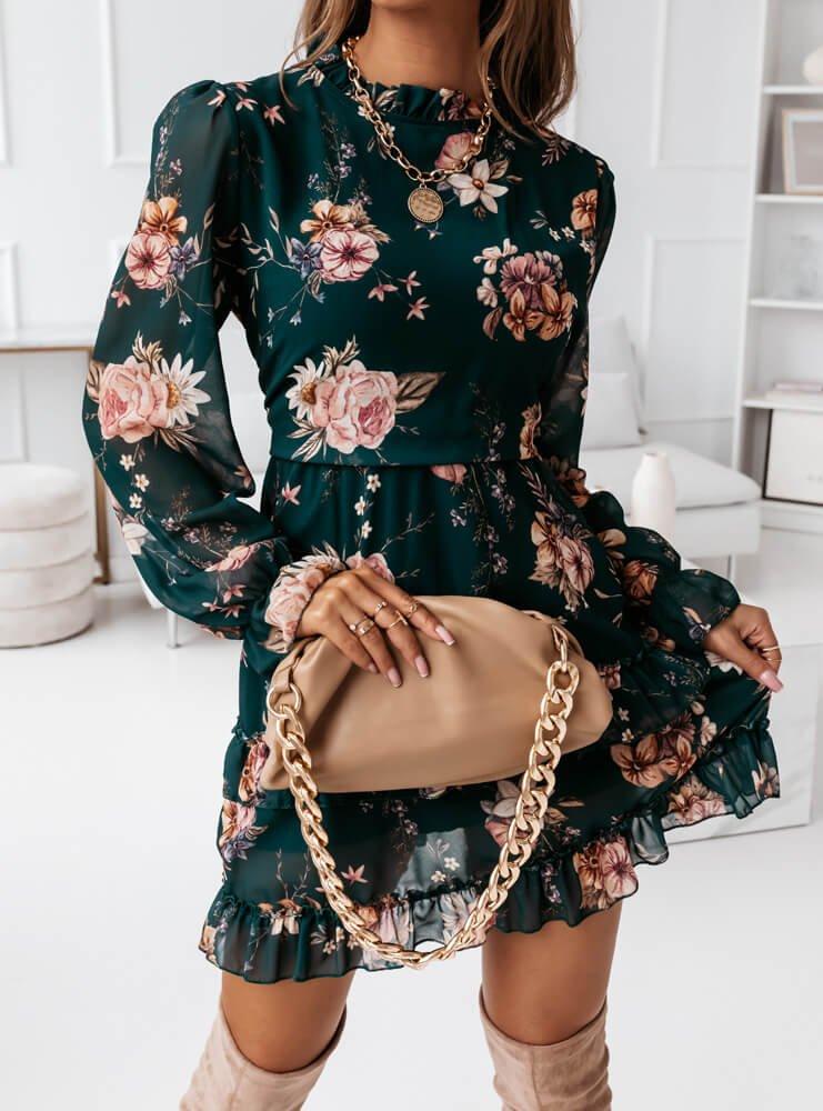 Sukienka kwiatowa na długi rękaw z...