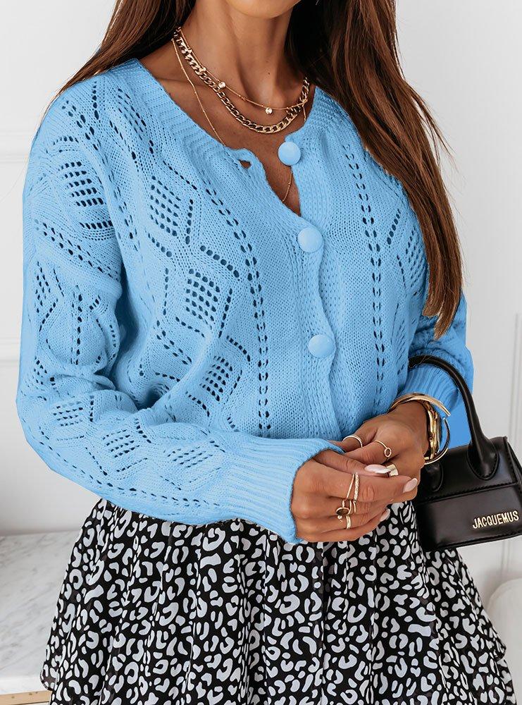 Błękit sweterek z gładkimi guzikami...