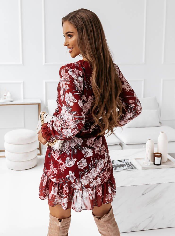 Bordowa sukienka kwiatowa Genea