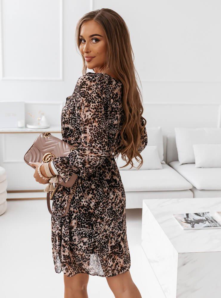Wzorzysta sukienka na długi rękaw...