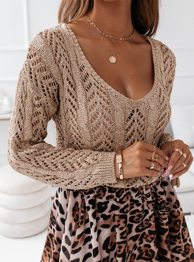Złoty ażurkowy sweterek z dekoltem w...