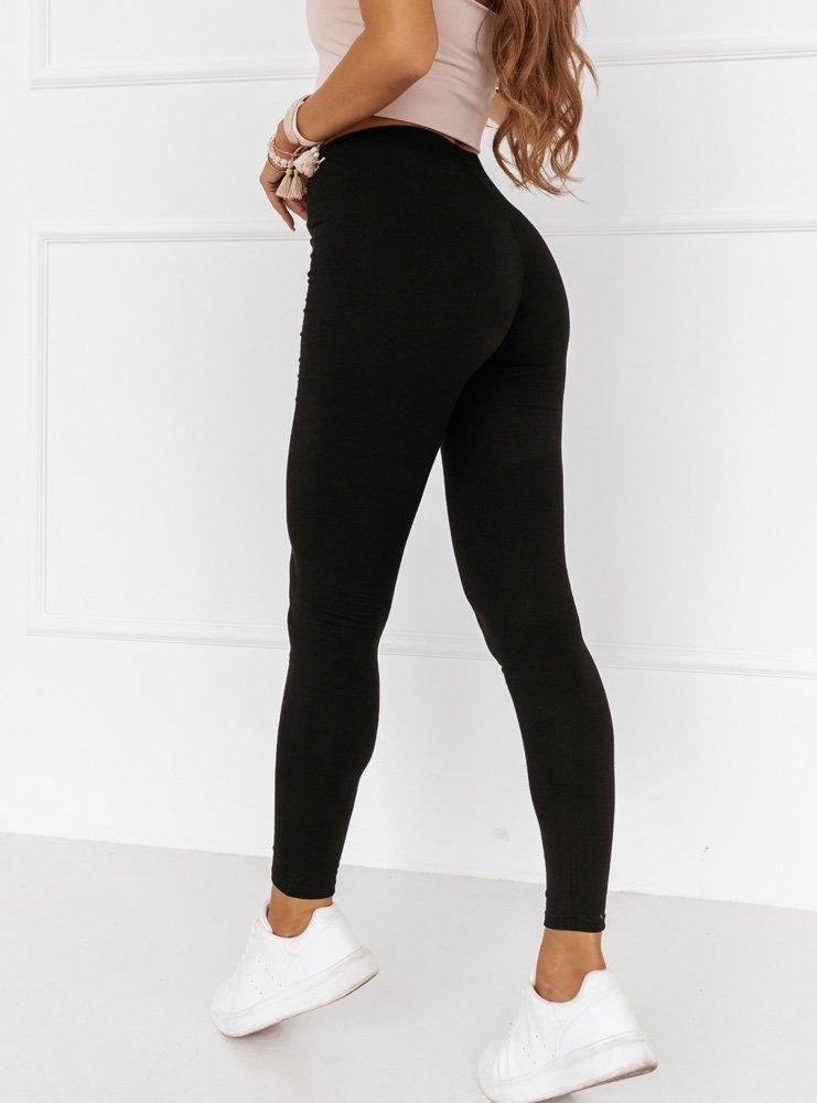 Czarne legginsy z gumką w pasie Teara
