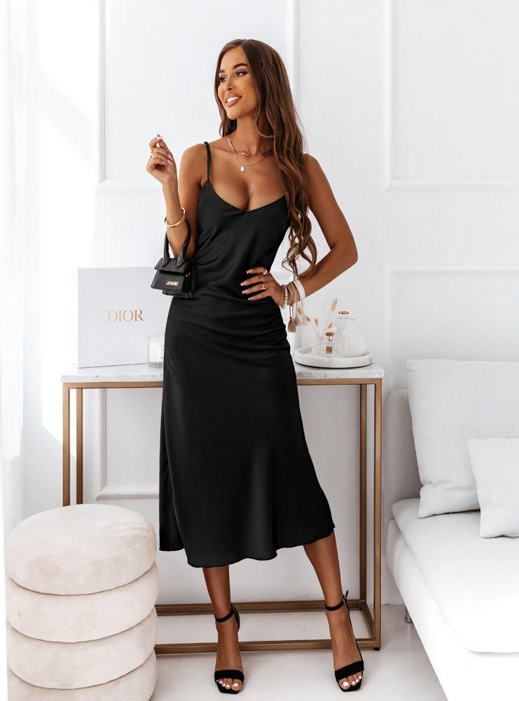 Czarna satynowa sukienka na ramiączka...
