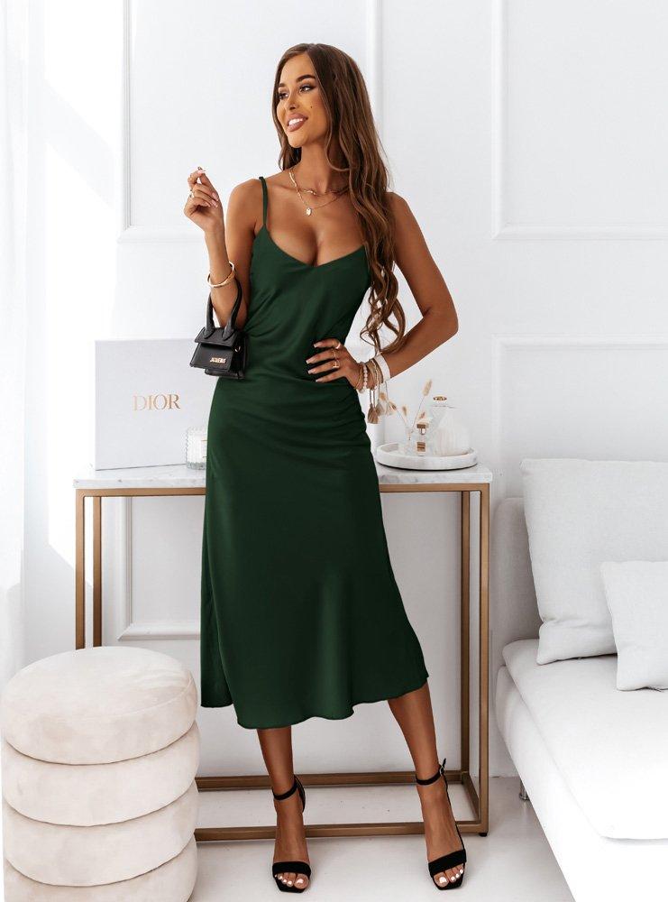 Satynowa sukienka na ramiączka midi...