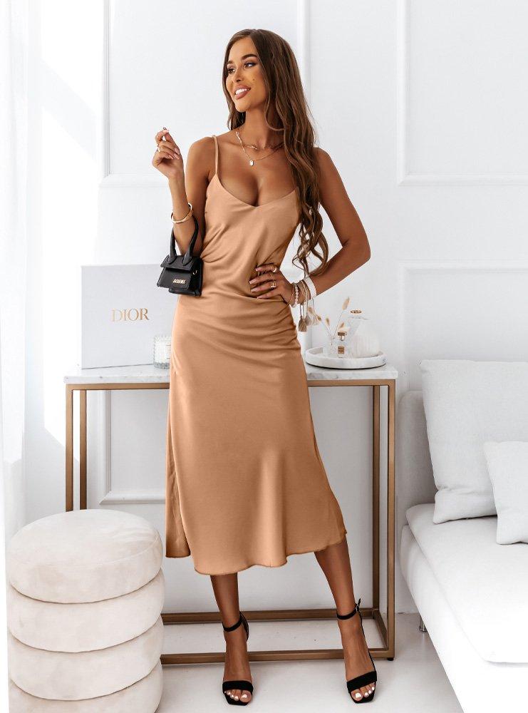 Karmelowa satynowa sukienka na...