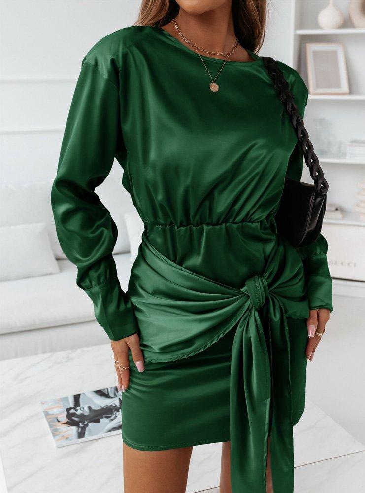 Satynowa sukienka z wiązaniem Temalia...
