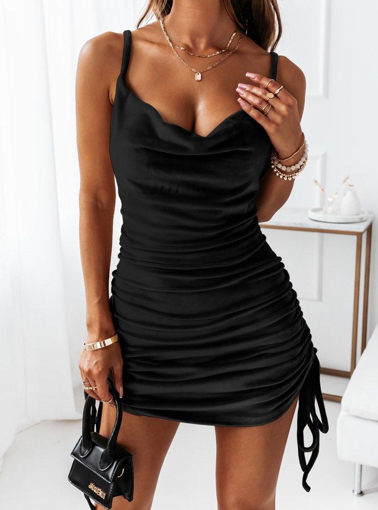 Czarna welurowa sukienka z...