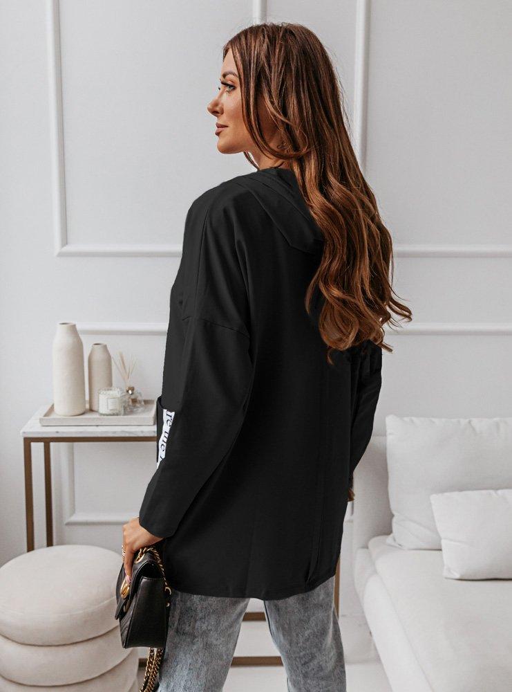 Czarna bluza z ozdobnymi taśmami Zoniaa