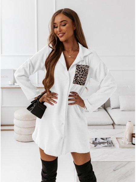 Biała koszulowa sukienka z...