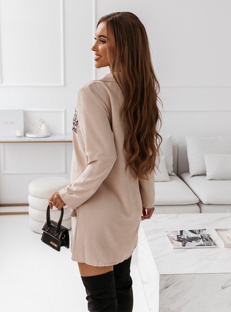 Beżowa koszulowa sukienka z ozdobną...