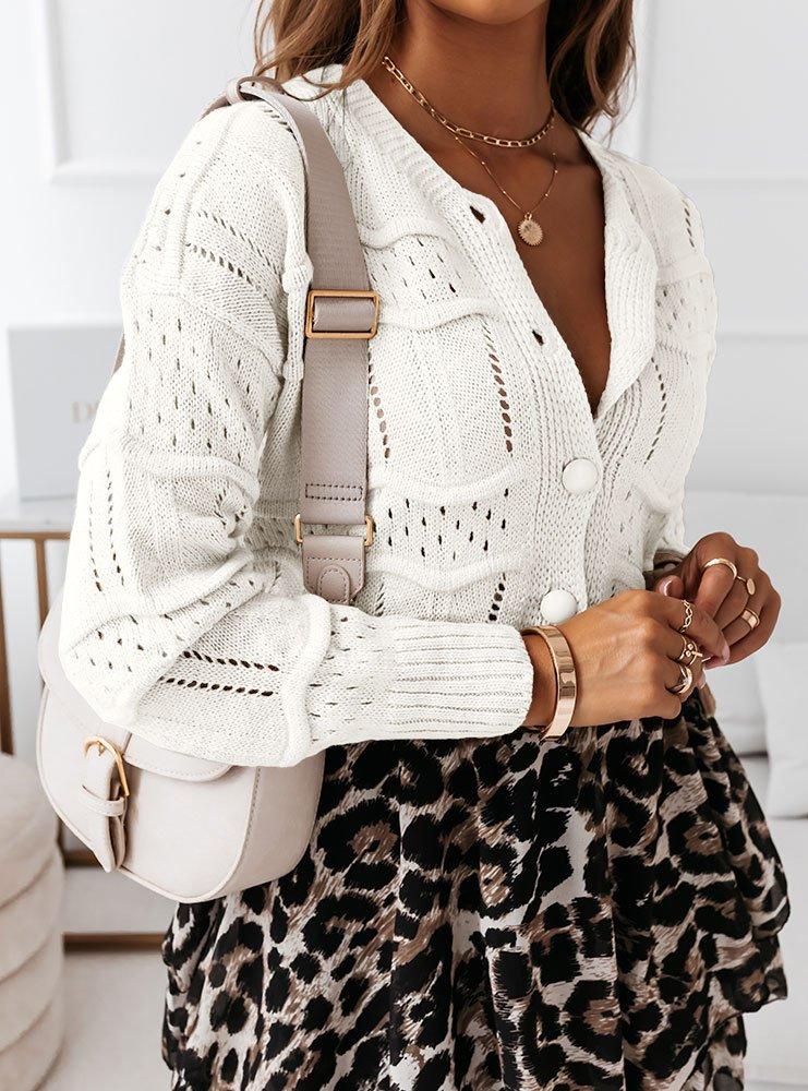 Ażurkowy sweter zapinany na guziki Lonii - ecru