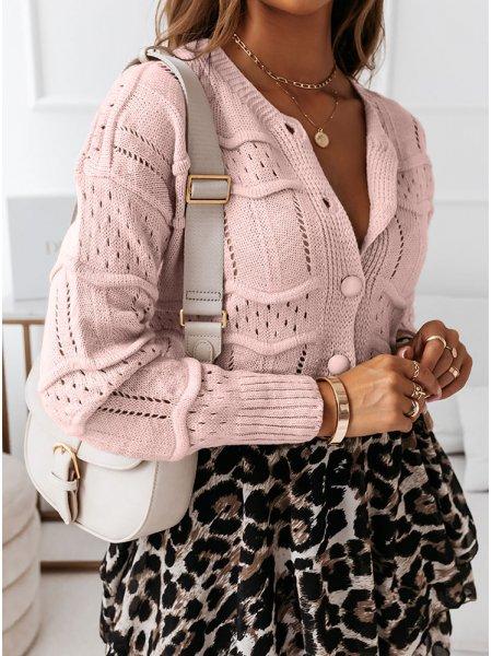 Pudrowy ażurkowy sweter Lonii