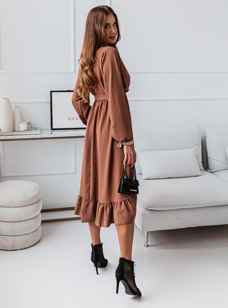 Karmelowa sukienka asymetryczna Kingsley