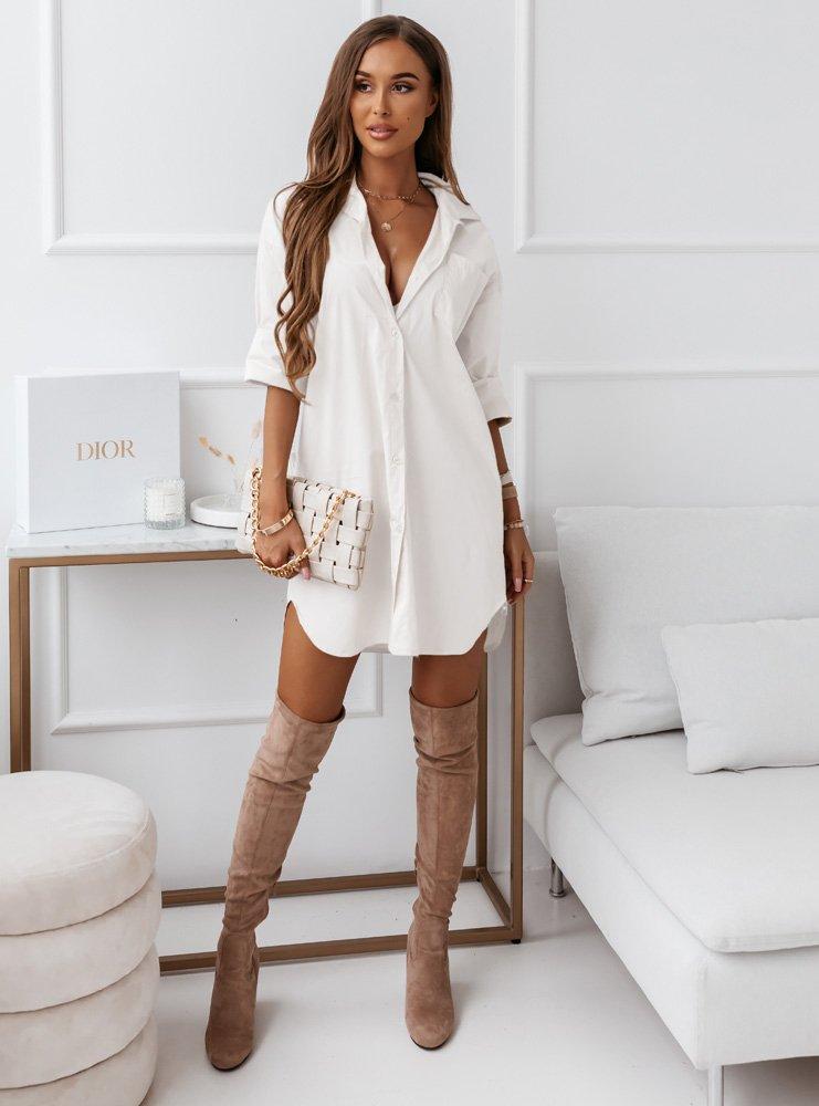 Biała sukienka koszulowa Bianka
