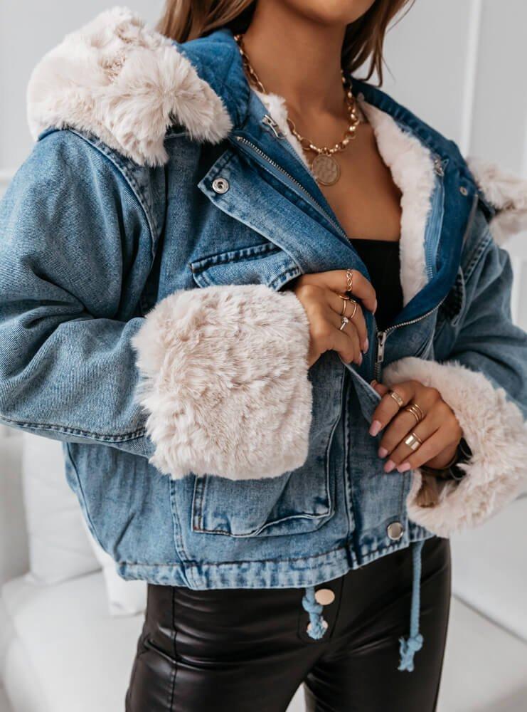 Niebieska jeansowa kurtka z futerkiem Rosalina