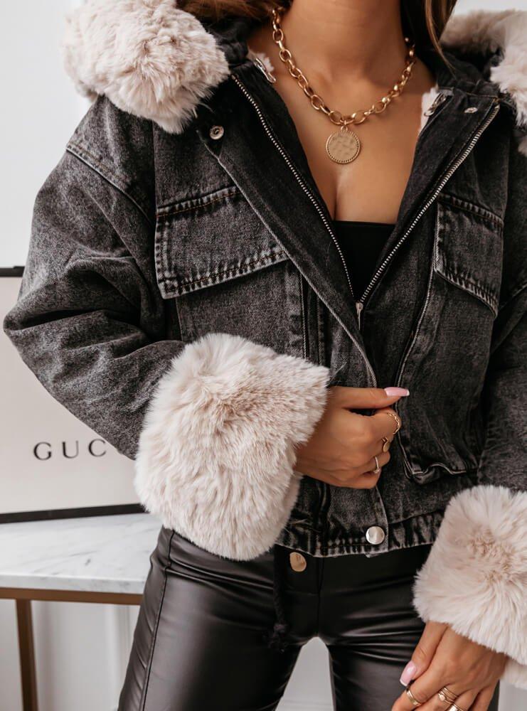 Czarna jeansowa kurtka z futerkiem...