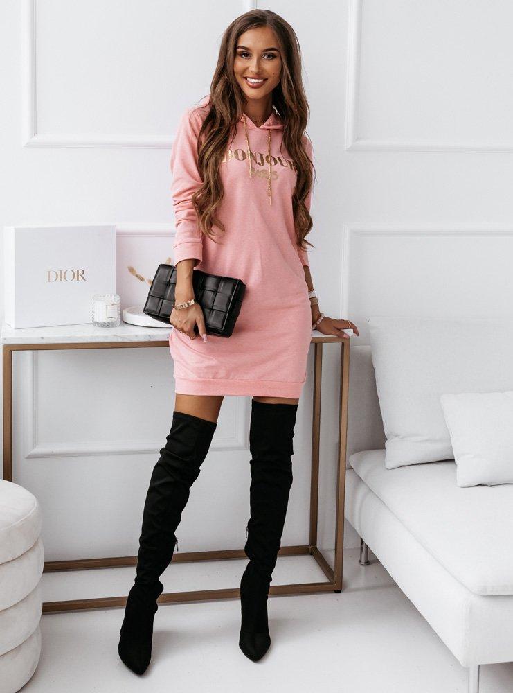Różowa modna sportowa sukienka z...