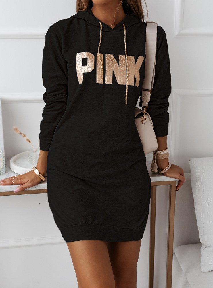 Czarna sportowa sukienka z ozdobnym...