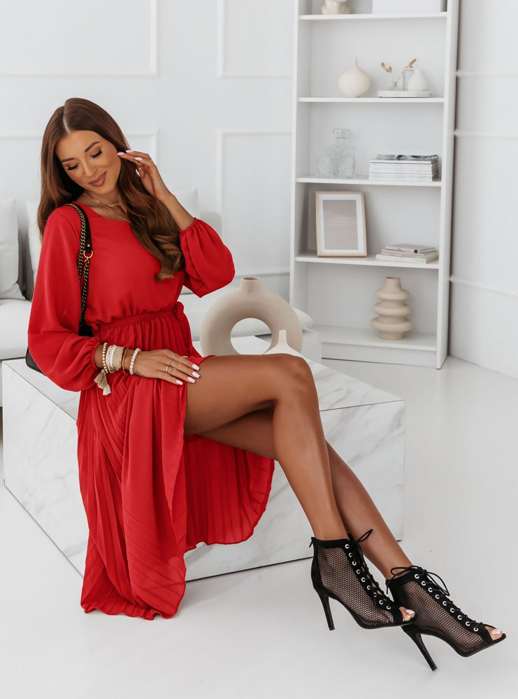 Malinowa plisowana sukienka Solia