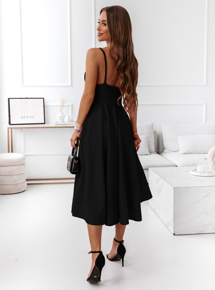 Czarna rozkloszowana sukienka na...