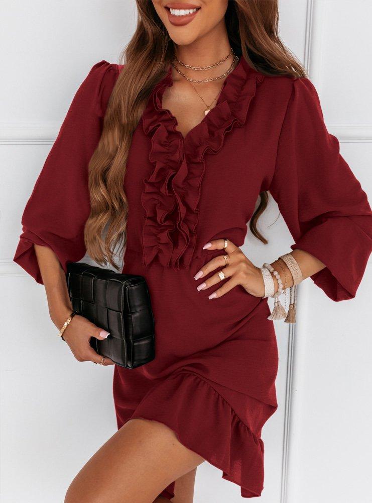 Bordowa sukienka z falbankami Selzi