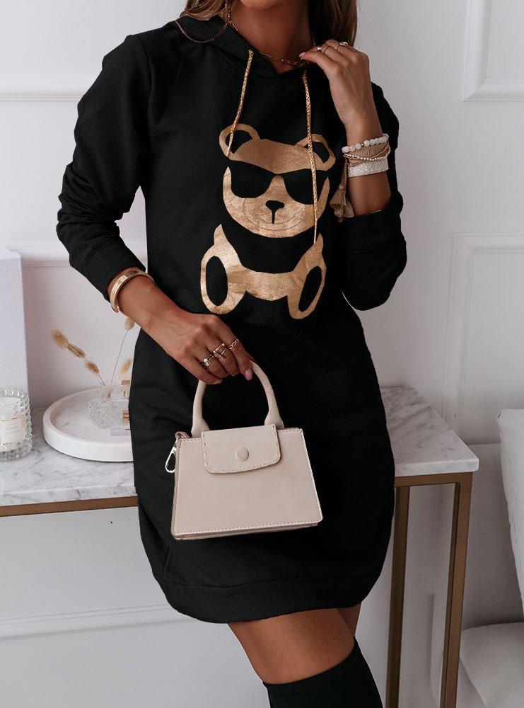 Czarna modna sukienka sportowa z...