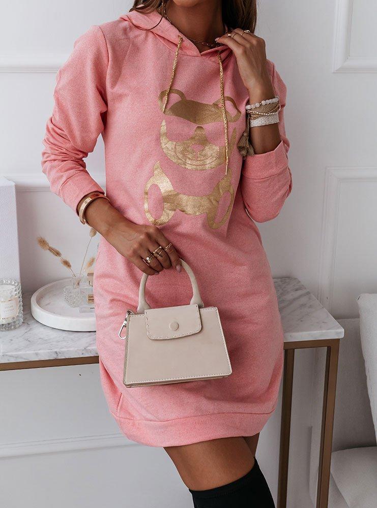 Różowa modna sukienka sportowa z...
