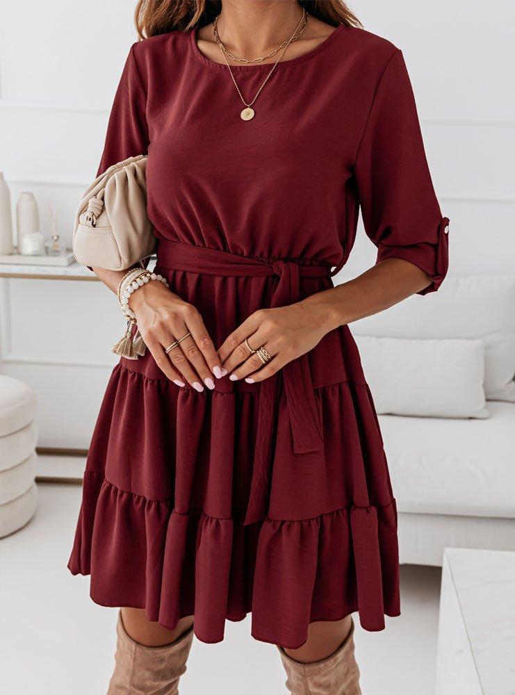 Bordowa sukienka z falbankami Tinnko