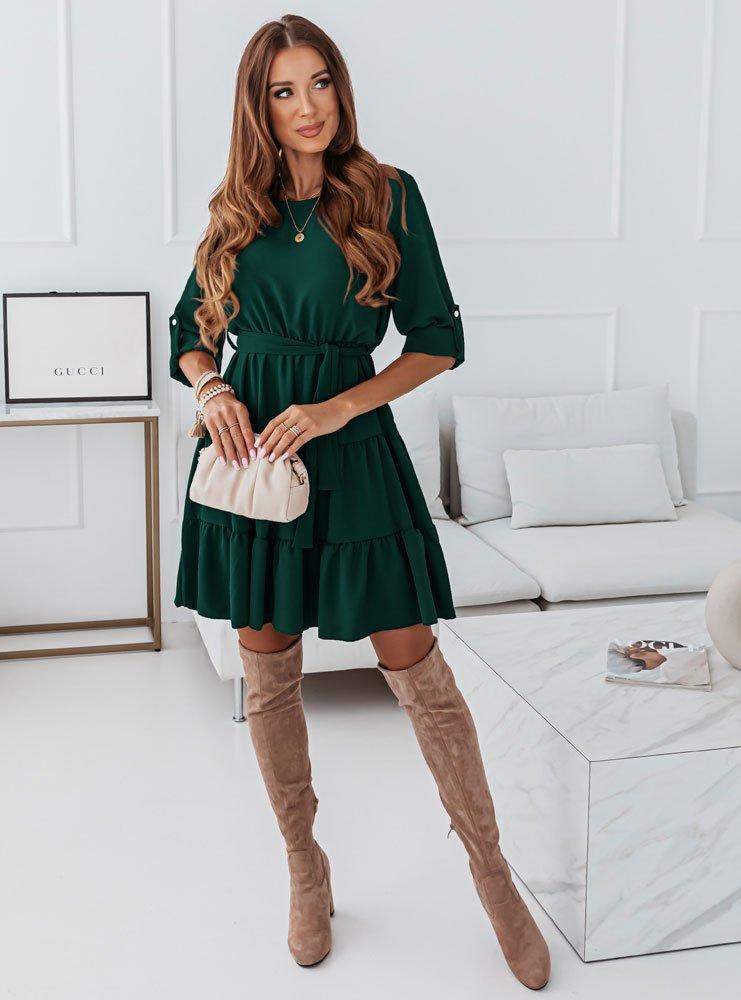 Sukienka z falbankami Tinnko - butelka zieleń
