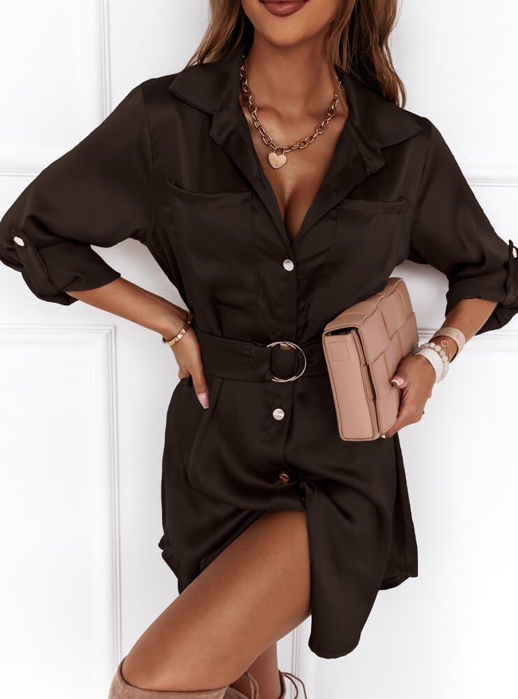 Czarna satynowa sukienka zapinana na...