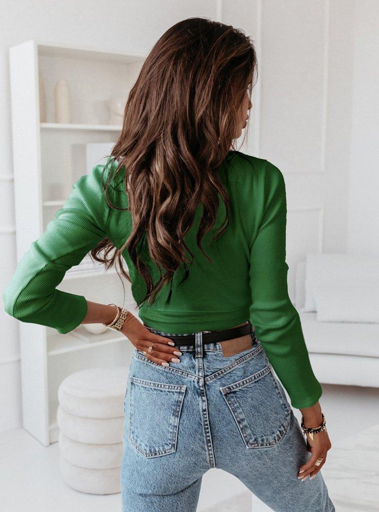 Zielona bluzka prążkowana z wiązaniem...