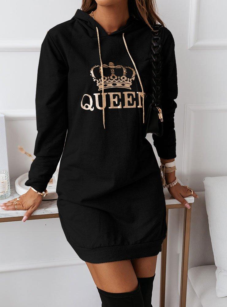 Czarna dresowa sukienka z nadrukiem...