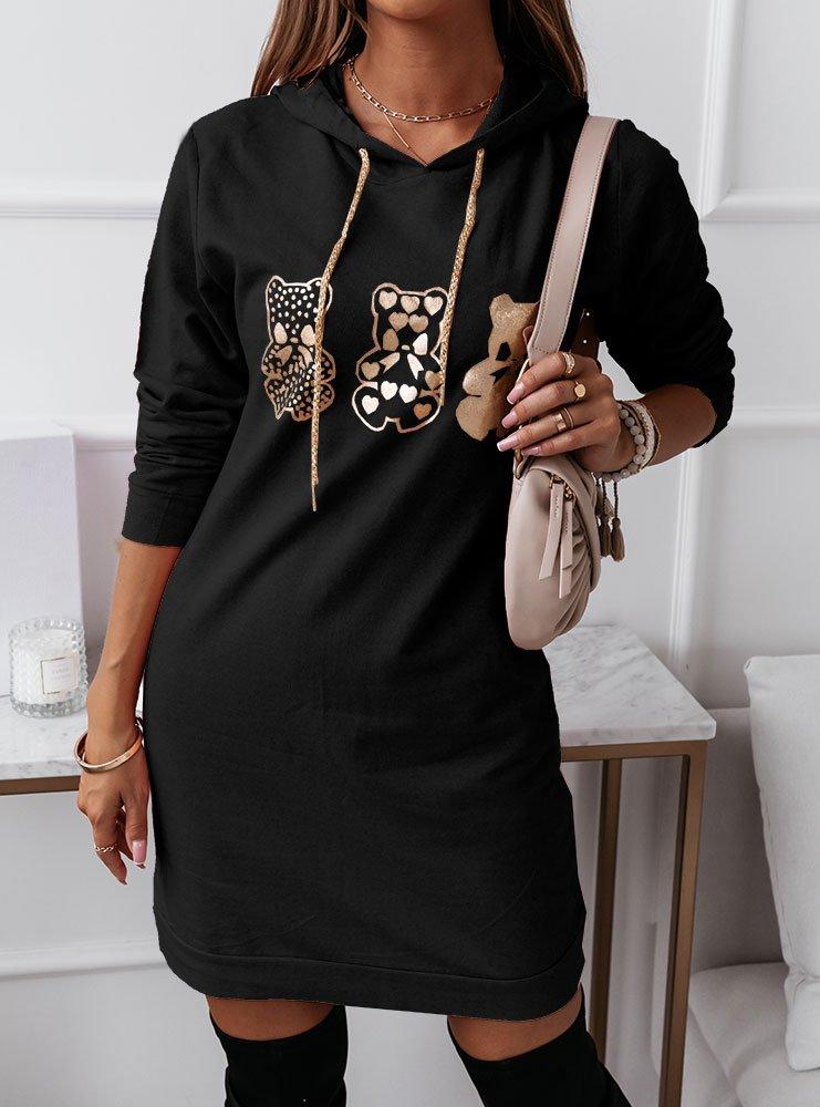 Czarna sportowa sukienka z nadrukiem...