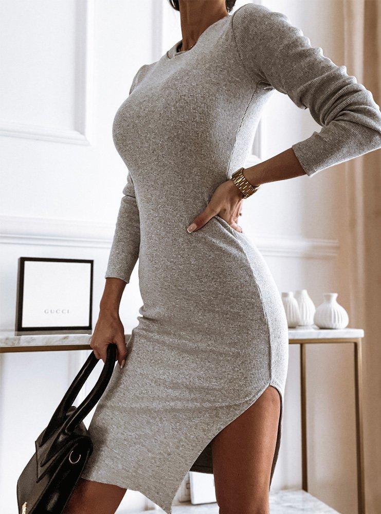 Szara dopasowana sukienka z...