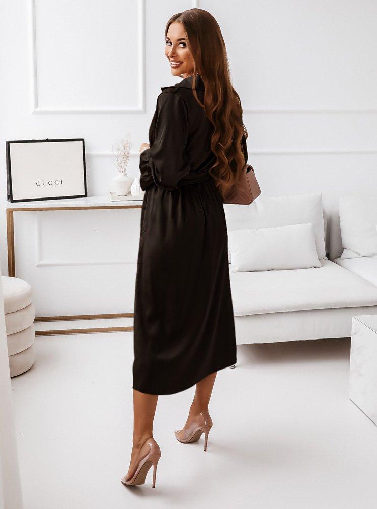 Czarna satynowa sukienka z paskiem...