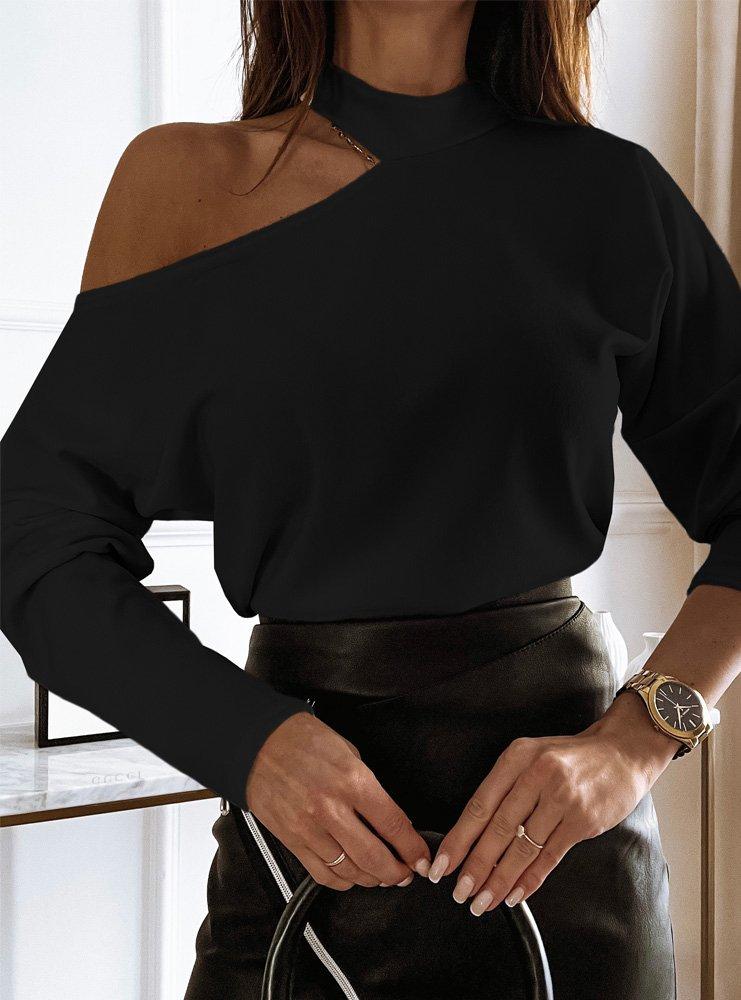 Czarna bluzka z odkrytym ramieniem...
