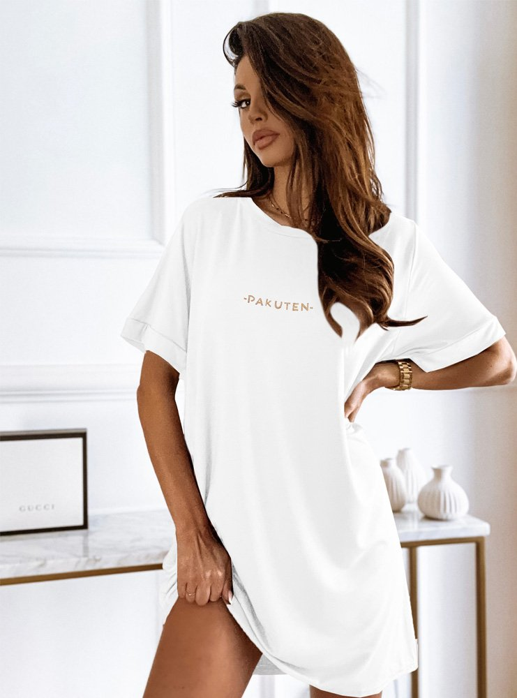 Biała logowana sukienka Wiktoriia
