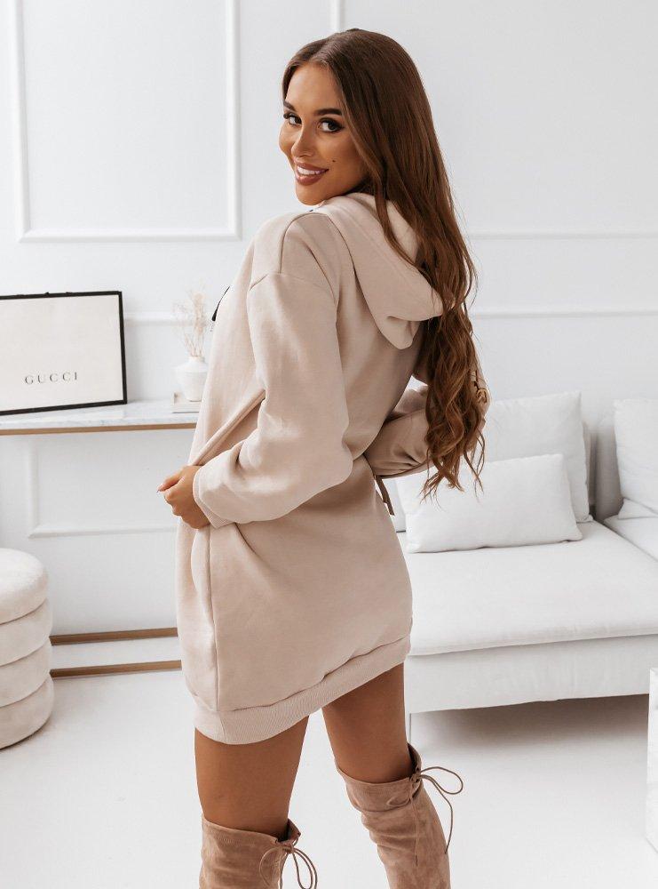 Beżowa logowana dresowa sukienka Nolene