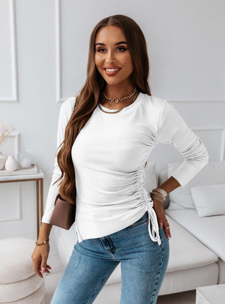 Biała bluzka z wiązaniem na boku Velina