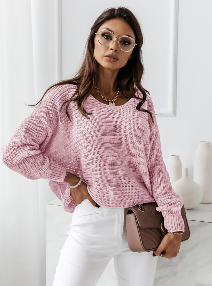 Pudrowy sweterek nietoperz Lohtta